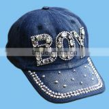 OEM/ODM Custom Fashion Women Luxury Rhinestone Caps And Hats , Wholesale Caps And Hats , Worn-Out Baseball Cap