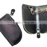 Business Zip Leather Keyholder Bag with key hooks