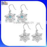 Rhodium Plated Cubic Zirconia 925 Sterling Silver Snowflake Dangle Hook Earrings With CZ