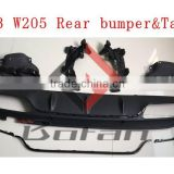 C63 W205 rear bumper diffuser with exhaust pipe for W205