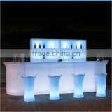 Modern PE Plastic Bar counter Set high bar cocktail table white plastic LED Furniture led bar table