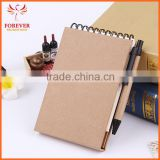 New Design Eco Paper Notebook 60 Sheets With Line 13.5*9.5cm Notebook With Sticky Note Ball Pen