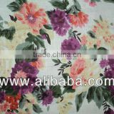 Cotton printed voile/printed gauze/fabric for women / White Bottom Flower Printed Light Fabric 100% Cotton Voile