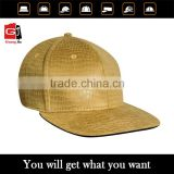 adult fashion snake skin custom 6 panesl fitted long brim leather hat wholesale