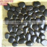 Nanjin Factory Direct Sell High Polished Black Color Pebble Stone Mosaic