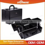2016 Sunrise black aluminum empty makeup train case with 4 rolling tray and cosmetic compartments