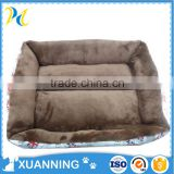 bulk luxury plush pet bed leather cloth & plush & PP cotton pet bed crib hooded dog bed