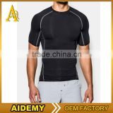 OEM service men sportswear 2 tones T-shirt gym tight fitness jogging tanktop high quality 2016 mens t shirts