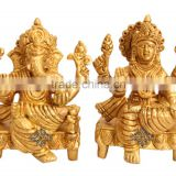 Handmade Brass Set of Ganesh Laxmi Ji God Goddess Hinduism Religious Antique Gift