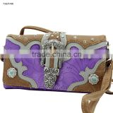 Cowgirl rodeo cross body type rhinestone buckle western ladies wallets