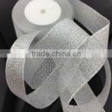 wired edges metallic ribbon Wholesale for gift wrapping& christmas decoration& festival