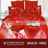 red strawberry pattern 5d printed 2015 spring cotton fabric bed sets 4PCS