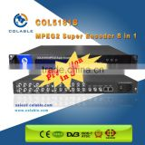 COL5181B mpeg2 and mpe4 catv/dstv/dtt broadcasting headend system encoder, 8ch av to ip udp encoder