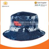 sun protection fashion summer blue jean bucket hats and cap cowboy leather patch custom jean bucket hat