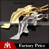 Gold and silver Jurassic pendant necklace stainless steel Fish stand charm necklace biker chain neceklace