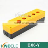 six hole yellow and black push button plastic station electrical control box BX6-Y