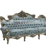 C-D1-2 Royal luxury fabric couch neoclassic rococo style french solid wood fabric sofa chair furniture