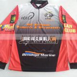 Custom made polyester fishing shirt with your brands/logos, 1/4 short zippers