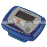 Step Counter Pedometer - counts up to 99,999 steps, batteries included, has convenient belt clip and comes with your logo