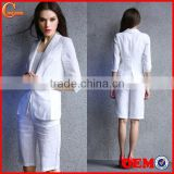 2014 summer cotton/linen ladies two pieces short sleeve blazer and middle pants set women office business suit