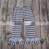 Pictures Of Latest Gowns Designs black with white stripes with lace wholesale baby ruffles pants