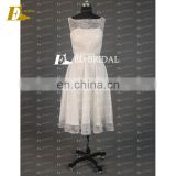CE742 New Arrival Beautiful Round Neck Lace Tea-length White Bridesmaids Dresses
