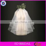 Unique Horsehair Trim One Layer Soft Tulle Fabric Short Wholesale Bridal Veil