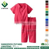 Scrubs tops 2017 Hot Sale Red Hospital Uniform V-neck Set For Doctor