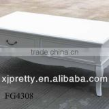classic white wooden coffee table with 2 drawers