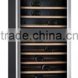 Hot selling 166 bottles 428L dual zone compressor wine cooler wooden wine cellar wine glass display cabinet