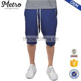 Wholesale Dark Navy Baggy Raw Cut Terry Shorts