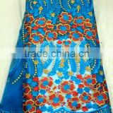 YL009-2 turkeyblue color chemical lace embroidery fabric gold thread swiss french tulle fabric