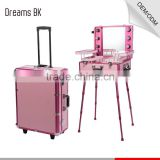 2016 DreamBaku best selling aluminum pink trolley makeup station with lights mirror for professional beauty salon