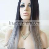 High quality heat resiatant fiber lace front straight Grey ombre hair synthetic wig