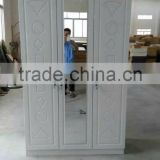 wardrobe 3 doors white color new design particle board wardrobe pvc coated