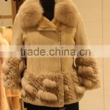 "Factory direct wholesale lady""s fashion rabbit fur and leather together jacket with fox fur collar"