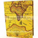 World Map Printed Art Paper Wrapping Ring Binder Desktop File Folder for Office Stationery Cardboard A4 or FC Size