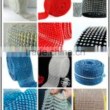 Top Quality Stetch Plastic Rhinestone Trim Net, Elastic Crystal AB Rhinestone Ribbon Sheet for Party Decoration