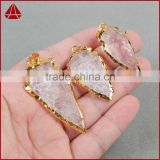 Assorted Gold electroplated rough stone raw natural arrowhead crystal quartz native American Indian gemstone jewelry
