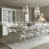 French Style Stacking Cross Back Oak Wood Dining Restaurant Chairs