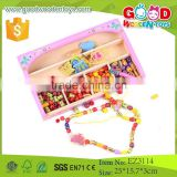 Fancy Design Girl and Boy Threading Gift Wood Beads Toy Wholesale