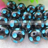 High quality 12mm to 24mm Wholesales Halloween Bead Black with Turquoise Resin Polka Dot Beads for Kids Chunky Necklace Jewerly