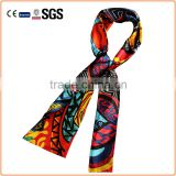 custom design Scarf wholesale 2016 new design polyester satin imitated silk scarf neckerchief ,women ornamental ties bandana