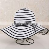 QXSH0053B Wide brim straw hat New summer striped bucket beach hat