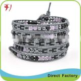 Figuratus Natural Bead On Black Leather Handmade Braided Bracelet DIY Custom Bracelet Jewelry