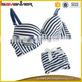 Womens Charm Sexy Padded Striped Push Up Padded Bra Panty Set