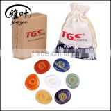 Wholesale 45*35*7mm Engraved 7pcs semi precious engraved chakra stones set                                                                                                         Supplier's Choice