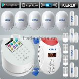 Plant professional new KERUI W2 with smoke detector motion sensor for wireless gsm home alarm system