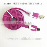 new style micro dual color flat cable micro usb cable 1 meter length new arriver