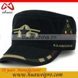 China Headwear Oem Adjustable Fitted Military Hats For Men Flat Top Snapback Cotton Caps For Man